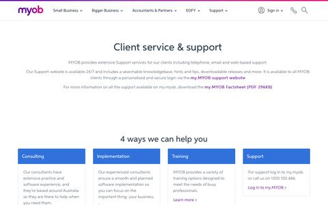 Screenshot of Services Page myob.com - Client Service & Support | Accounting Practices & Firms | MYOB - captured Oct. 29, 2016