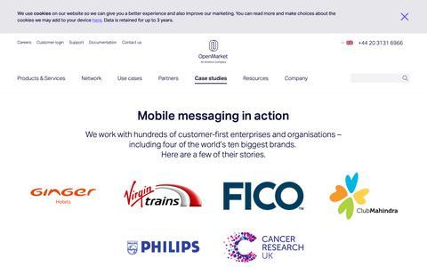 Screenshot of Case Studies Page openmarket.com - Mobile Marketing Case Studies | OpenMarket - captured Dec. 21, 2018