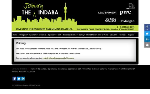 Screenshot of Pricing Page joburgindaba.com - Pricing » JoburgIndaba - captured Dec. 20, 2018