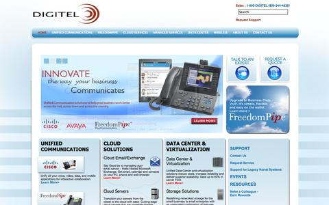 Screenshot of Home Page digitel.net - Business Phone Systems | Managed IT | Cloud Services - Digitel - captured Oct. 5, 2014