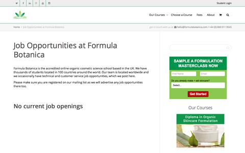 Screenshot of Jobs Page formulabotanica.com - Job Opportunities at Formula Botanica - captured June 6, 2017