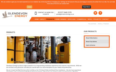 Screenshot of Products Page glendevonenergy.co.uk - Glendevonenergy - Products - captured July 18, 2018