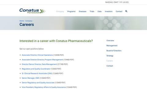 Screenshot of Jobs Page conatuspharma.com - Conatus Pharmaceuticals                  » Careers - captured Feb. 21, 2016