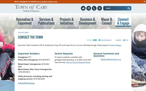 Screenshot of Contact Page townofcary.org - Town of Cary : Contact the Town - captured Jan. 23, 2017