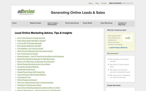 Screenshot of Blog adhesion.co.nz - Online Marketing Tips, Advice & Resources In Our Blog - Adhesion NZ - captured Sept. 19, 2014
