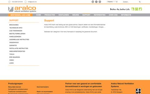 Screenshot of Support Page aralco.be - Support - Aralco - captured Nov. 21, 2016