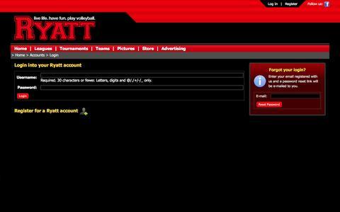 Screenshot of Login Page ryatt.ca - Ryatt - Live Life. Have Fun. Play Volleyball. - captured Sept. 30, 2014