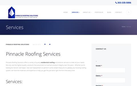 Screenshot of Services Page pinnacleroofingsolutions.com - Denver Roofing Services | Aurora | Centennial - captured Dec. 9, 2015