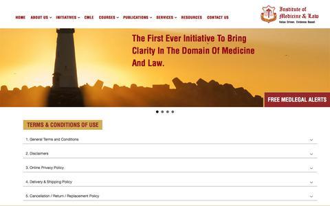 Screenshot of Terms Page imlindia.com - Institute of Medicine & Law - Institute of Medicine & Law - captured Oct. 15, 2017