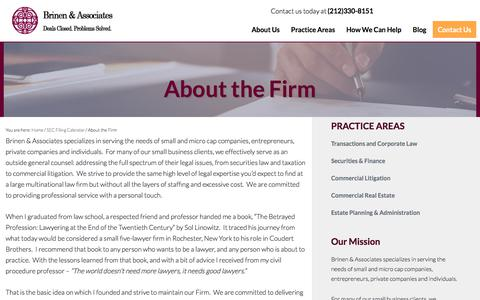Screenshot of About Page brinenlaw.com - About the Firm - Brinen & Associates - captured July 7, 2017