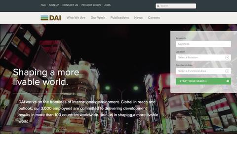 Screenshot of Jobs Page dai.com - Working at DAI · DAI: International Development - captured Nov. 19, 2018