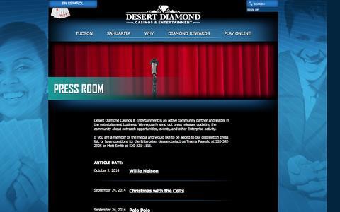 Screenshot of Press Page ddcaz.com - Casinos - Gaming - South Arizona - AZ - captured Oct. 5, 2014