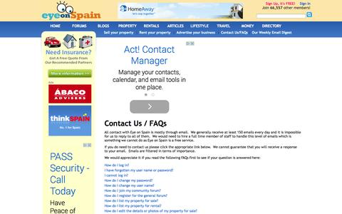 Screenshot of About Page Privacy Page Terms Page eyeonspain.com - Contact Eye on Spain - captured Nov. 2, 2014