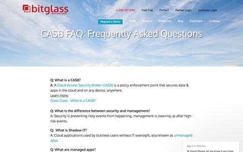 Screenshot of FAQ Page bitglass.com - Aya says… - captured June 25, 2019