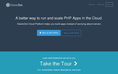 Screenshot of Home Page elasticdot.io - ElasticDot | PHP PaaS Cloud Application Platform | PHP PaaS | WordPress PaaS | Symfony PaaS | Laravel PaaS - captured July 11, 2014