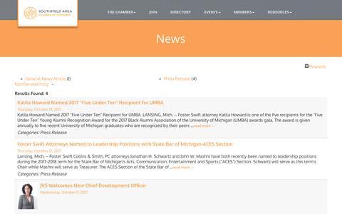Screenshot of Press Page southfieldchamber.com - News - Southfield Area Chamber of Commerce, MI - captured Oct. 23, 2017