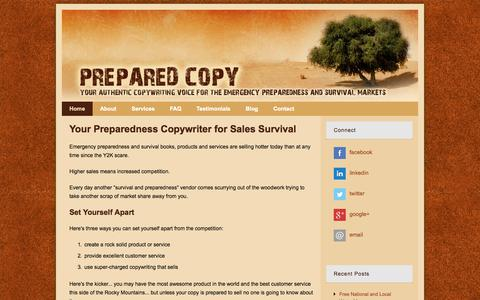 Screenshot of Home Page preparedcopy.com - Prepared Copy - Copywriting for the Preparedness and Survival Markets - captured Sept. 19, 2014