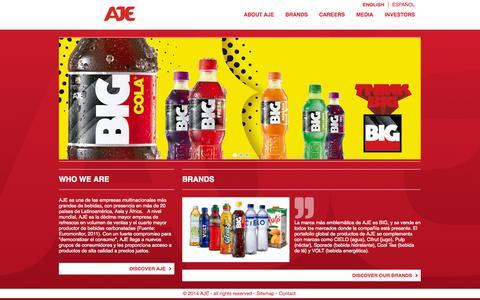 Screenshot of Home Page ajegroup.com - AJE - captured Sept. 19, 2014