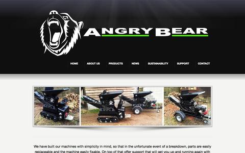 Screenshot of Support Page angry-bear.com - SUPPORT « Angry Bear Recycling Angry Bear Recycling - captured Oct. 4, 2014