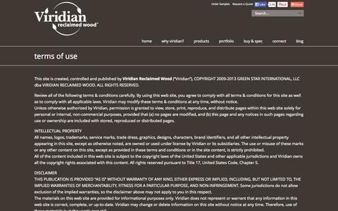 Screenshot of Terms Page viridianwood.com - Terms of Use - ViridianWood.com Viridian Reclaimed Wood - captured Oct. 7, 2014