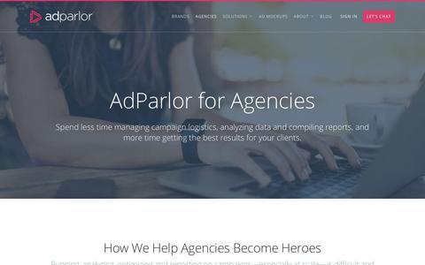 Screenshot of adparlor.com - Agencies | AdParlor - captured April 11, 2017