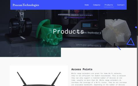 Screenshot of Products Page procomtechnologies.net - Products – Procom Technologies - captured July 23, 2018