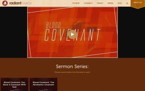 Screenshot of Services Page radiantchurch.org - Watch the Latest Service - captured Aug. 11, 2016