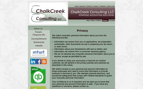 Screenshot of Privacy Page chalkcreekconsulting.com - Privacy - captured Nov. 10, 2018