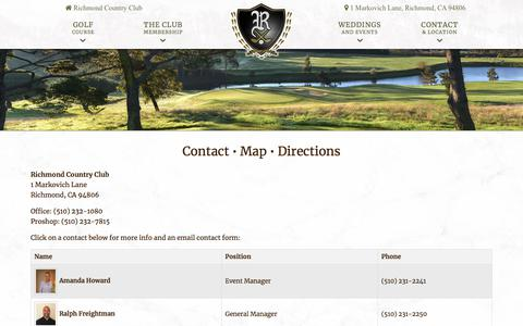 Screenshot of Contact Page Maps & Directions Page myrichmondcc.org - Richmond Country Club | Private Golf Course | Richmond, CA - Contact Us Today! - captured Jan. 27, 2018
