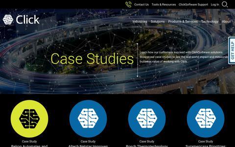 Screenshot of Case Studies Page clicksoftware.com - ClickSoftware Customer Case Studies - captured Oct. 3, 2018