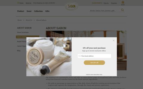 Screenshot of About Page sabonnyc.com - About Sabon - captured July 27, 2018