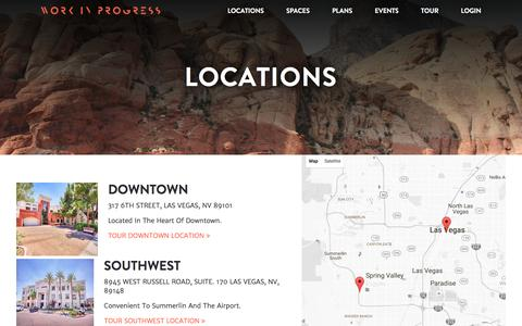 Screenshot of Locations Page workinprogress.lv - Co-Working Locations - Work In Progress Las Vegas - captured Nov. 24, 2016