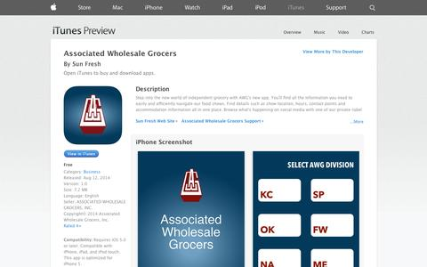Screenshot of iOS App Page apple.com - Associated Wholesale Grocers on the App Store on iTunes - captured Nov. 2, 2014