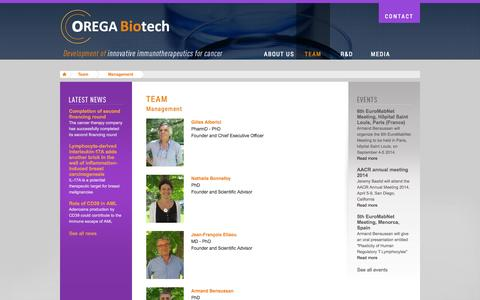 Screenshot of Team Page orega-biotech.com - People | Orega Biotech | Development of innovative immunotherpeutics for cancer - captured Sept. 17, 2014