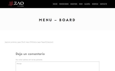 Screenshot of Menu Page zaoquito.com - Menu – Board – Zao Quito - captured Oct. 18, 2017