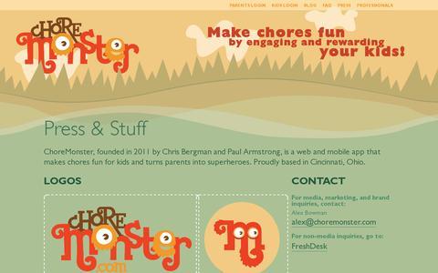 Screenshot of Press Page choremonster.com - Press & Stuff | ChoreMonster - captured July 18, 2014