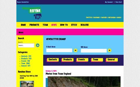 Screenshot of Press Page raynelongboards.com - News | Rayne Longboards - captured Oct. 9, 2014