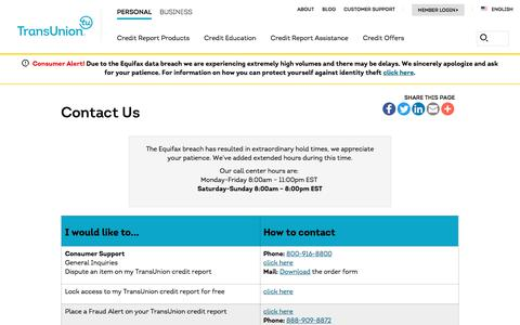Screenshot of Contact Page Support Page transunion.com - Consumer Contact Information   Transunion - captured Sept. 24, 2017