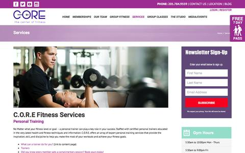 Screenshot of Services Page corecof.com - Closter New Jersey Gym Services - C. O. R. E. Fitness - captured Jan. 23, 2016
