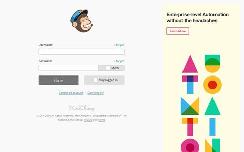 Screenshot of Landing Page mailchimp.com - Login | MailChimp - email marketing made easy - captured May 6, 2016
