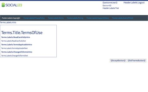 Screenshot of Signup Page social123.com - Social123 - captured Aug. 1, 2016