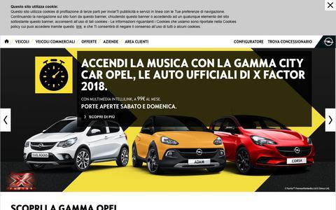 Screenshot of Home Page opel.it - Opel Italia - Auto nuove Opel, Furgoni e Veicoli Commerciali, Offerte Opel - captured Sept. 23, 2018