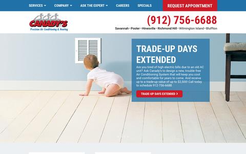 Screenshot of Home Page canadys.com - Canady's Precision Air | HVAC Savannah, Pooler, Richmond Hill, Hinesville - captured Sept. 26, 2018