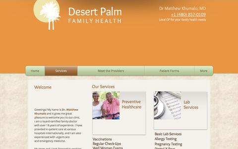 Screenshot of Services Page desertpalmfamilyhealth.com - Desert Palm Family Health - Services - captured June 4, 2017