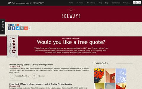 Screenshot of About Page solways.co.uk - Solways Printers Quality Printing London | Solways - captured Oct. 18, 2018