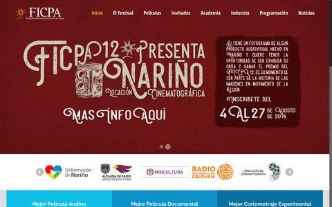 Screenshot of Home Page ficpa.co - FICPA – Festival Internacional de Cine de Pasto - captured Feb. 1, 2017