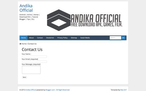 Screenshot of Privacy Page Contact Page andika-official.blogspot.com - Contact Us | Andika Official - captured Jan. 20, 2016
