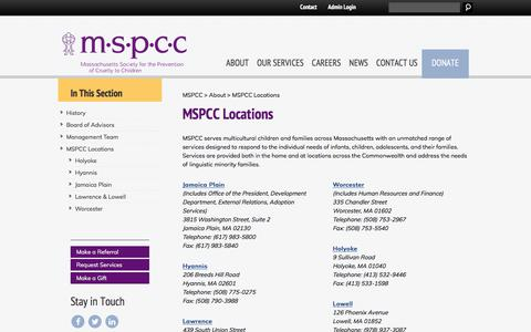 Screenshot of Locations Page mspcc.org - MSPCC Locations - MSPCCMSPCC - captured Oct. 17, 2017