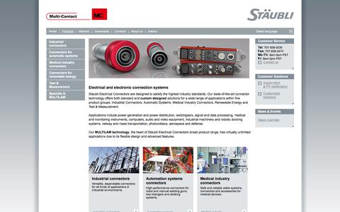Screenshot of Products Page staubli.com - Products-Electrical connectors for any industry - captured Jan. 24, 2018