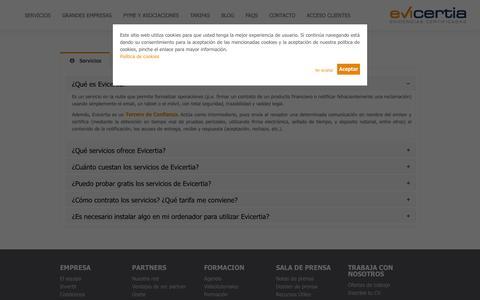 Screenshot of FAQ Page evicertia.com - FAQs | Evicertia - Evidencias Certificadas - captured Oct. 28, 2014